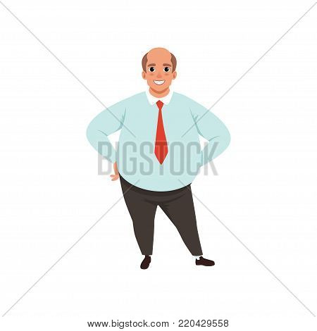 Fat adult man with bald head. Cartoon male character in formal clothing blue shirt, red tie and black trousers. Office worker concept. Vector illustration in flat style isolated on white background.