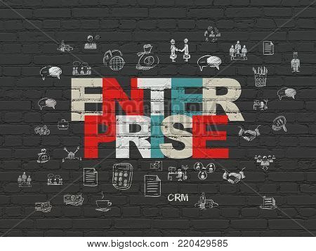 Business concept: Painted multicolor text Enterprise on Black Brick wall background with  Hand Drawn Business Icons