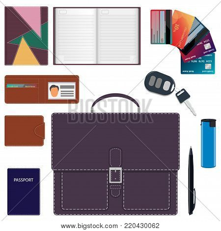 Men S Briefcase And Its Contents. Men S Bag And A Common Set Of Objects Carry With Them. Diary, Wall