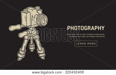 Photography  Design With Isolated  Camera On A Tripod Artistic Cartoon Hand Drawn Sketchy Line Art Style Drawing Vector Graphic.