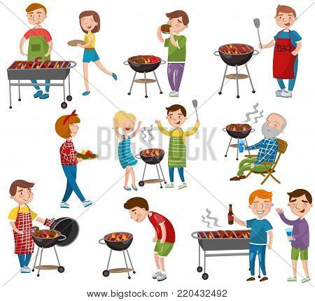 Happy people eating and cooking grilled meat, barbecue party in holiday cartoon vector Illustrations on a white background