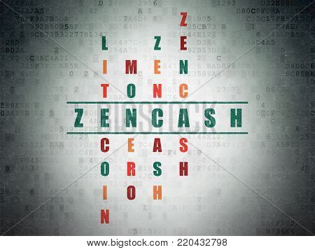 Blockchain concept: Painted green word Zencash in solving Crossword Puzzle on Digital Data Paper background