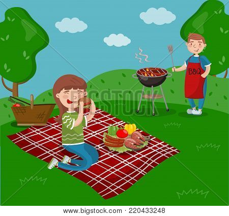Young happy couple cooking and eating bbq while sitting in the garden, barbecue party in summer holiday cartoon vector Illustrations on a white background