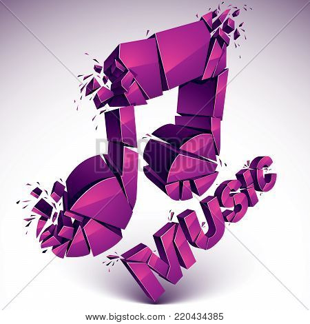 3d vector magenta demolished musical notes, music word. Dimensional groove design element with refractions, explosion effect.