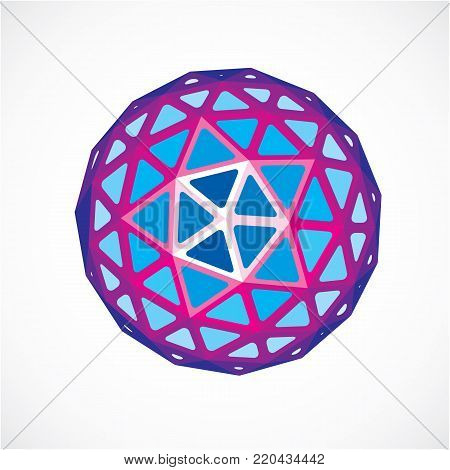 3d vector digital spherical object made using triangular facets. Low poly shape, purple polygonal globe, abstract form for use in web design.