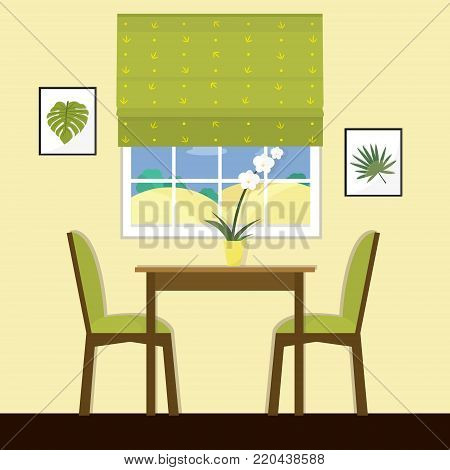 Modern dining room with a big window in green color. Flat style vector illustration.