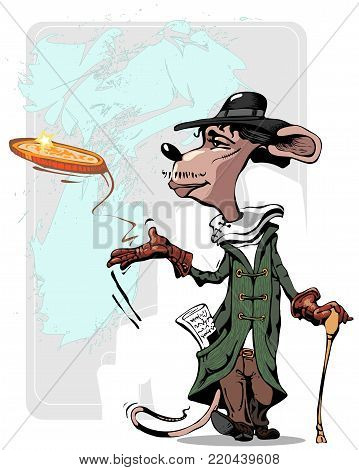 mouse hand-drawn cartoon clipart illustration with cartoon coin