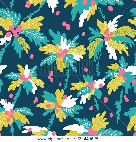 Seamless pattern with silhouettes tropical coconut palm trees. Summer repeating background. Natural print texture for fabric, wrap paper design.