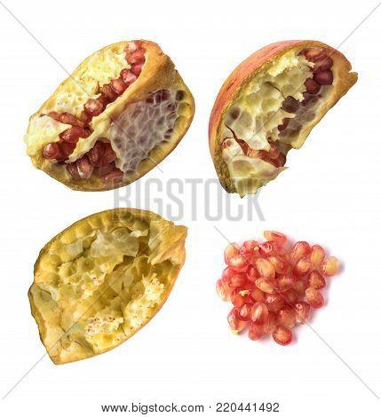 Pomegranate Shells Isolated