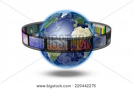 Film strip of surreal and abstract footage around the planet Earth. 3D rendering