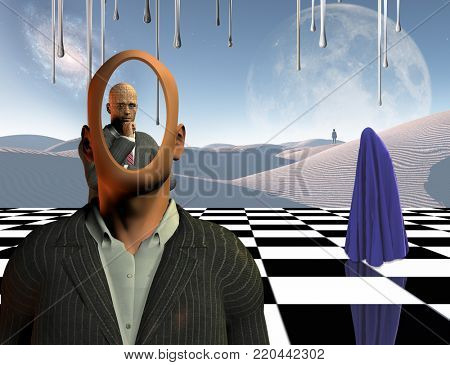 Surrealism. Faceless businessman with another thinking businessman behind him stands on chessboard. Lonely man in a distance. White sand dune. Figure covered by purple clothes. 3D rendering