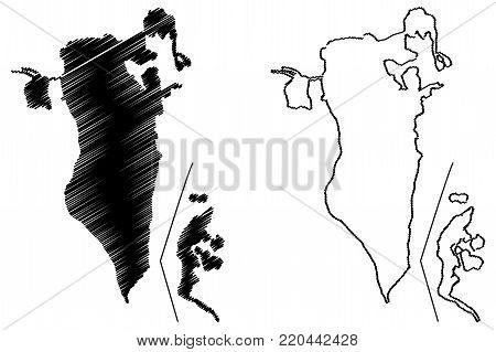 Bahrain map vector illustration, scribble sketch Kingdom of Bahrain