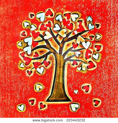 A conceptual artistic tree illustration with love hearts.