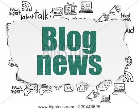 News concept: Painted green text Blog News on Torn Paper background with  Hand Drawn News Icons