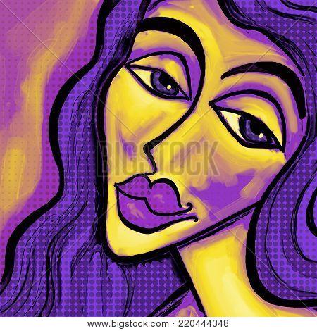 Retro portrait of a young womans face.