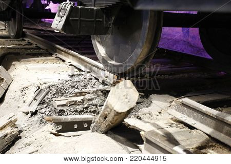 Damaged rail.Exploded by the rail and train wheels