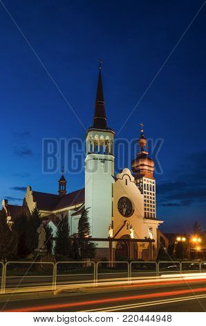 CHURCH- Evening over the Roman Catholic church
