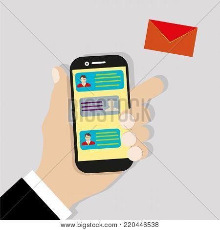 Sending message. Mobile chat. Hand holding phone with envelope, send button and notification, email. Flat cartoon illustration for web banners, sites, infographics design. Vector illustration.