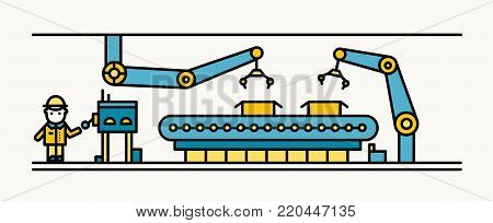 Belt conveyor equipped with robotic arms conveying cardboard boxes and industrial worker in hard hat standing and controlling production process. Colorful vector illustration in line art style