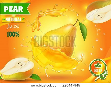 Pear juice advertising with juice splash realistic vector illustration.