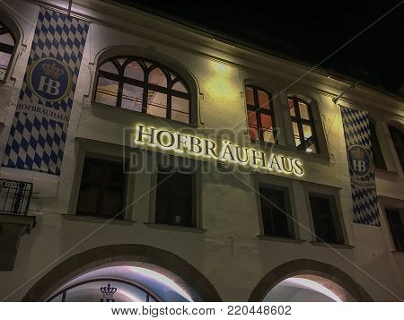 Munich, Germany - May 23, 2017: The famous Hofbraeuhaus in Munich (Muenchen) at night