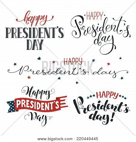 Happy Presidents Day phrases with american flag isolated on white background. Hand drawn calligraphy collection. USA President day wording with decorative ribbon.