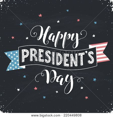 Happy Presidents Day text  with american flag on black board. Hand drawn calligraphy. USA President day lettering with decorative ribbon.