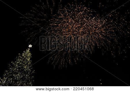 Colorful Fireworks In The Clouds