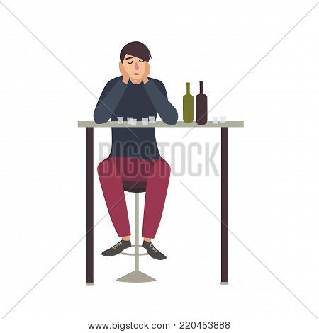 Sad man with closed eyes sitting at bar and drinking shots. Male cartoon character with alcohol addiction isolated on white background. Alcoholic or dipsomaniac. Flat colorful vector illustration