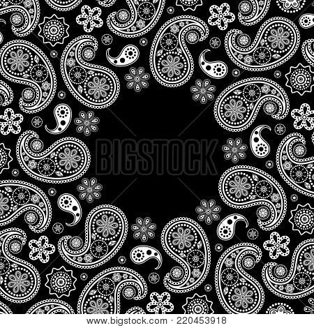 Invitation card with white paisley on black background.Vector illustration.