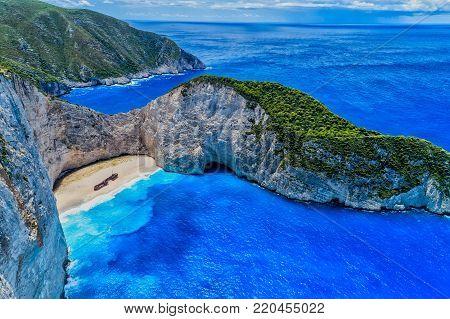 Aerial View Of Navagio (shipwreck) Beach In Zakynthos Island, Greece.