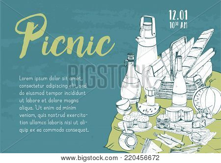 Horizontal banner, poster, picnic announcement or invitation template with traditional basket for outdoor dining hand drawn on green background and place for text. Monochrome vector illustration