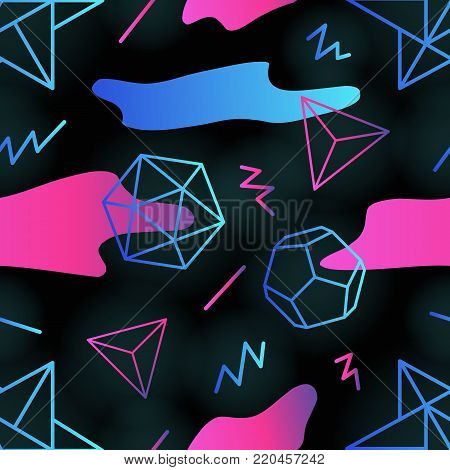 Trendy retro futuristic seamless pattern with outlines of polygonal shapes, gradient colored stains and zigzag lines on black background. Vector illustration in 1990s style for wallpaper, backdrop