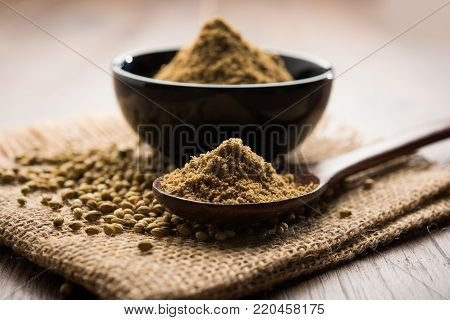 Indian spice coriander powder heap, selective focus