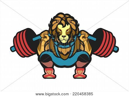 vector illustration of a powerlifting squat with the bar character Leo in sports outfit on white background isolated logo the competition logo sport club