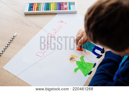Happy 8 Years Boy Child Drawing A Greeting Card For His Grandma