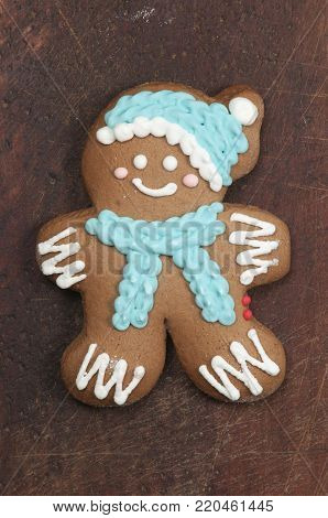 Christmas gingerbread on a wooden board closeup