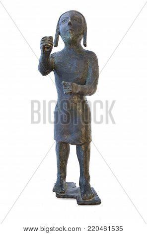 Copper statuette of Medina de las Torres Warrior, Badajoz. Dated 7th Century BC. Replica over white background