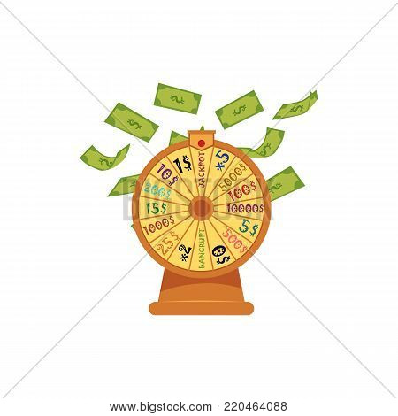 Wheel of fortune with money, dollar banknotes flying, falling down, casino symbol, flat vector illustration isolated on white background. Wheel of fortune, casino, gambling device, lottery concept