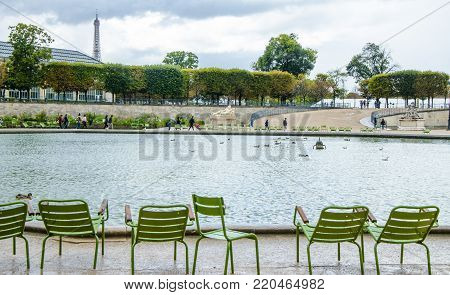A view of rainy Paris in the spring.