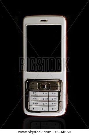 White Cellular Phone On Black Background