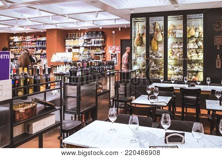ROME, ITALY - DECEMBER 30, 2017: San Gregorio restaurant on the sixth floor of the new La Rinascente shopping mall in Rome, nice place for taste italian food and wine in the atmosphere of a contemporary food shop.