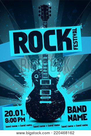 vector illustration blue rock festival party flyer design template with guitar, origami banner and cool splash effects in the background