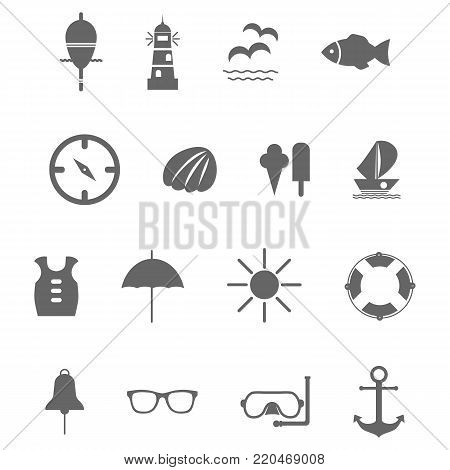 set of grey vector icons for summer sea travel. Eps10