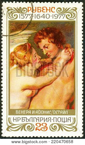 Ukraine - circa 2018: A postage stamp printed in Bulgaria shows drawing Venus and Adonis. Series: 400th Birthday of Rubens. Circa 1977.