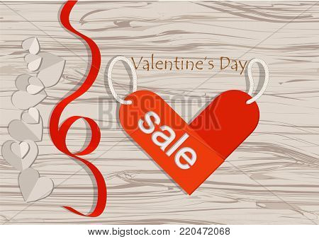 valentines sale. abstract wooden background with hearts and inscription