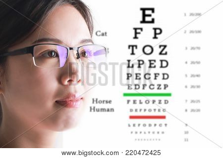 Young woman on eyesight test chart background. Eyesight and eye examination.