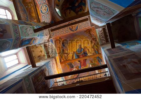 VELIKY NOVGOROD, RUSSIA- AUGUST 11, 2017. Interior view of Cathedral of Nativity of Our Lady, St Anthony monastery in Veliky Novgorod, Russia. Inside view of Veliky Novgorod Russia landmark