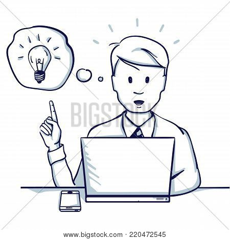 Young business man sitting at the table, next to his laptop she had an idea. Hand drawn doodle cartoon vector illustration.
