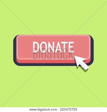 Pressing donate button, donation symbol. Vector Illustration